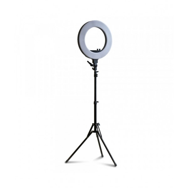 Ringlamp ⌀46cm LED, adjustable light intensity and color temperature + tripod + phone holder + carrybag